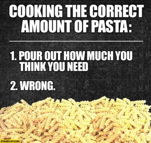 Cooking too much pasta